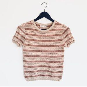 Alice + Olivia Metallic Striped Pink Sweater Crop